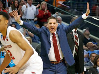 Texas Tech head coach Chris Beard exhorts his troops as Texas Tech Red Raiders Zhaire Smith (2) works the floor in the first half during NCAA Tournament first round mens basketball games held at the American Airlines Center in Dallas on Thursday, March 15, 2018.