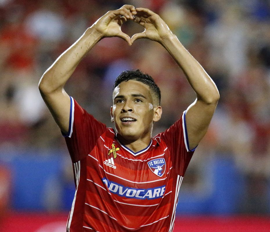 FC Dallas midfielder Victor Ulloa (8) flashes a heart shape with his hands to the fans after scoring a goal to make the score 2-0 during the first half as FC Dallas hosted the Portland Timbers at Toyota Stadium in Frisco, Texas on September 3, 2016.  (Stewart F. House/Special to The Dallas Morning News)