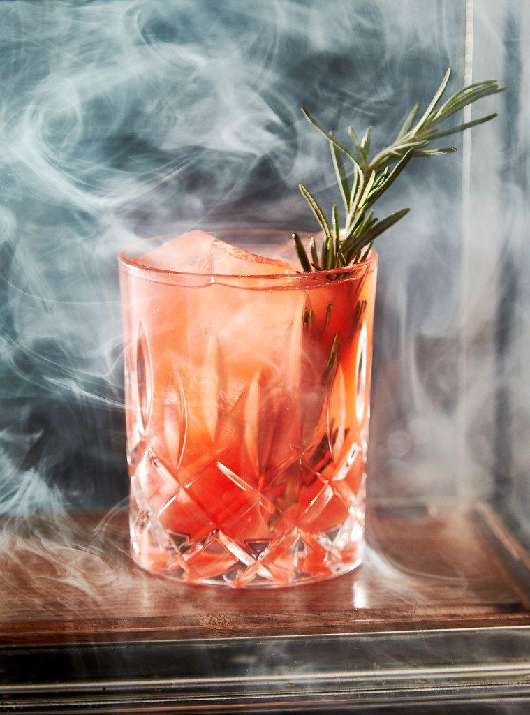 "A ""Smoke and Rosemary"" at Beau Nash cocktail bar at Hotel Crescent in Dallas"