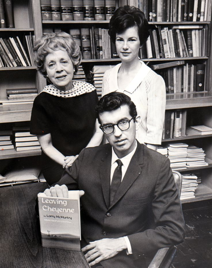"The caption published with this photo in April, 1966, read as follows:  ""Texas author Larry McMurtry's urban attire caused some surprise at The [Dallas Morning] News; he always wears jeans to the Smith College Book Sale.  Shown with him on a preliminary visit are Mrs. Frances Mossiker (left), distinguished Dallas author and hostess to book people at a Friday party, and Mrs. Gerald Weenick, book sale chairman."""