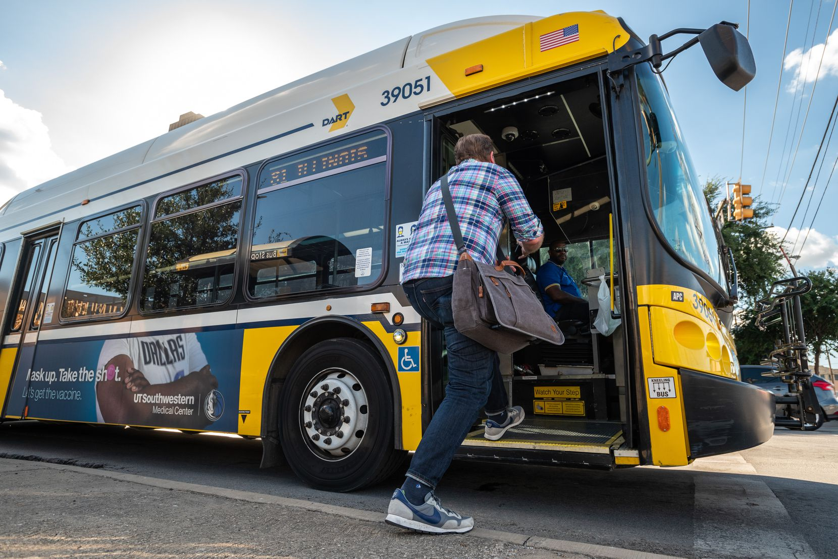 Doyle Rader, a longtime rider of DART, stepped onto a bus Tuesday at the intersection of Peak and Live Oak streets in Dallas.