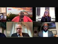"Screenshot of Zoom Webinar titled ""Looking Back at 2020: Racism, Antisemitism, and Public Safety Challenges in Dallas"" with moderator Mary Pat Higgins (top right), President and CEO, Dallas Holocaust and Human Rights Museum, and panelists (clockwise from top left) Rabbi Andrew Paley, Senior Rabbi, Temple Shalom and Chair, Faith Forward Dallas, Rev. Dr. Maria Dixon Hall, Chief Diversity Officer and Professor, Southern Methodist University,  Jesuorobo Enobakhare, Jr., Chair, Community Police Oversight Board, Eddie García, Incoming Police Chief, Dallas Police Department, and Bishop T.D. Jakes, The Potter's House Church, on Tuesday, Jan. 19, 2021, in Dallas."