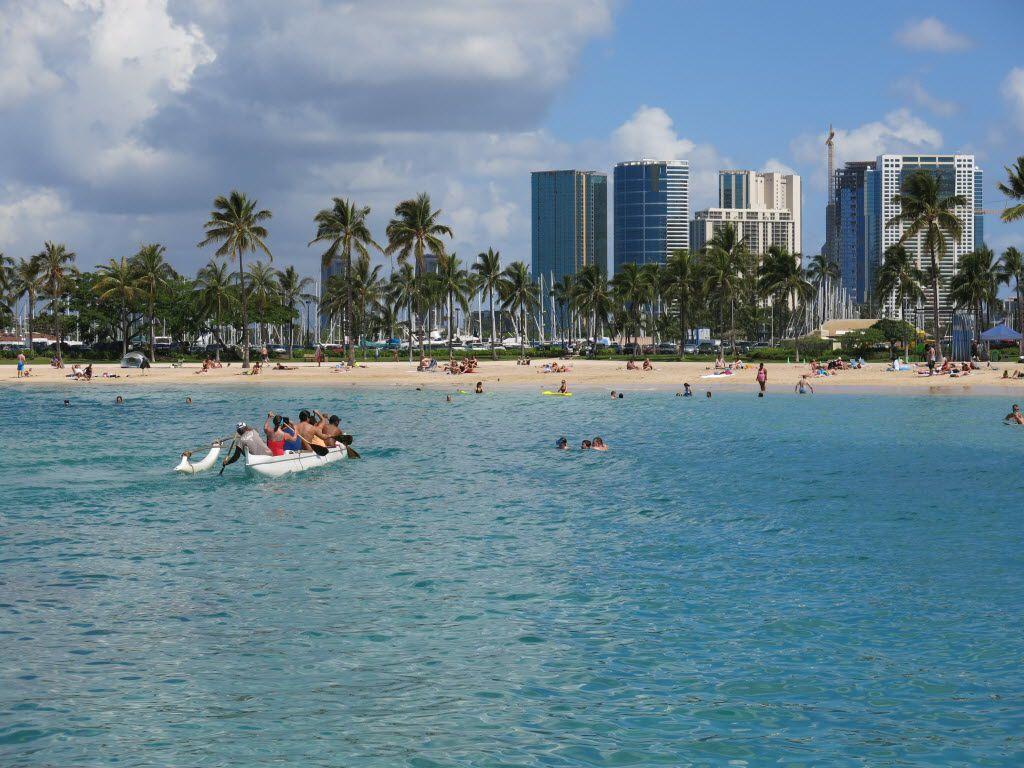 Duke Kahanamoku Beach in the Honolulu tourist neighborhood of Waikiki in Hawaii is considered one of the best public beaches in the United States.