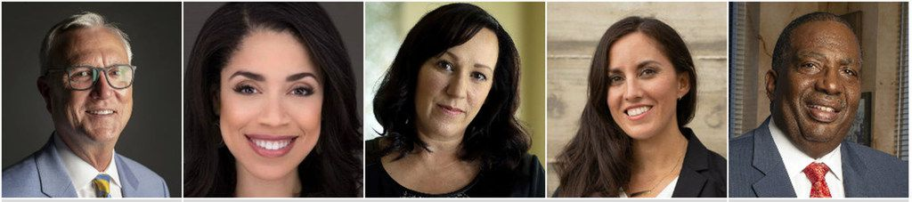 Democrats former U.S. Rep. Chris Bell of Houston, left, Houston City Council member Amanda Edwards, former Air Force helicopter pilot MJ Hegar of Round Rock, Cristina Tzintzún Ramirez, and State Sen. Royce West are all trying to unseat longtime incumbent Republican U.S. Sen. John Cornyn