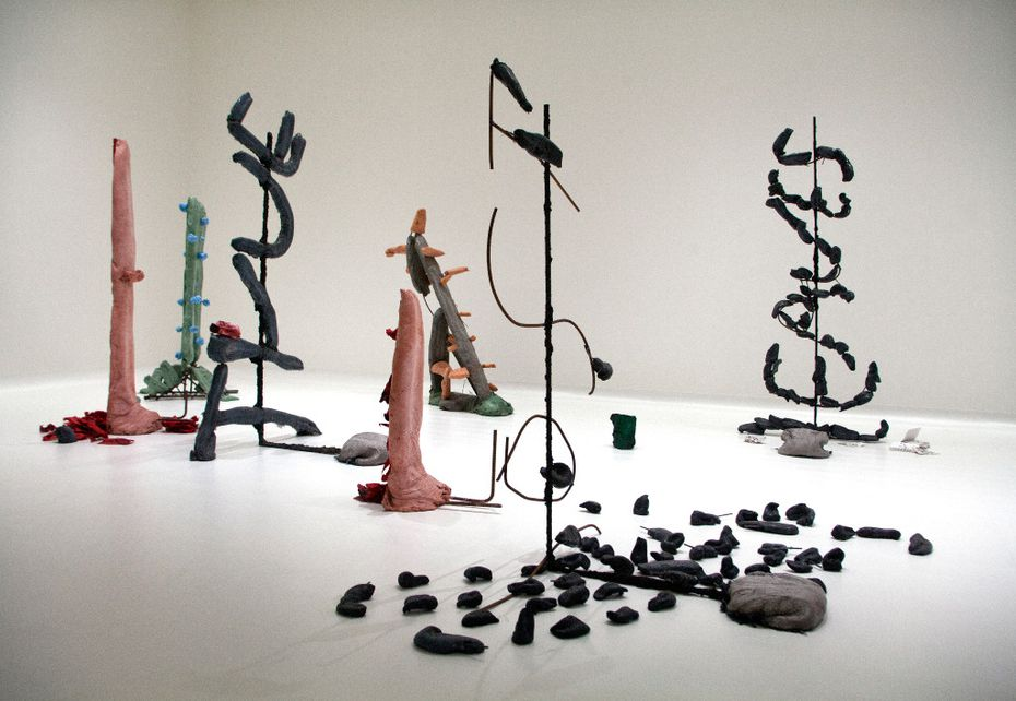 """Installation view at the """"Sightings: Michael Dean"""" exhibition at the Nasher Sculpture Center in Dallas of """"Lost True Leaves."""""""