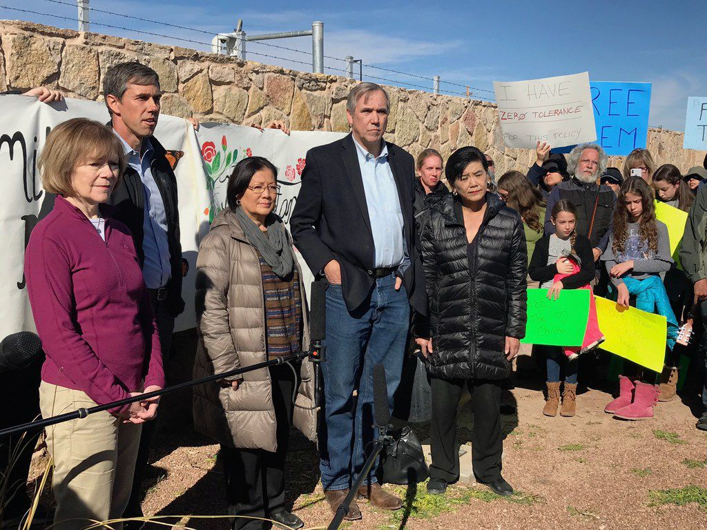 U.S. Rep. Beto O'Rourke (left) led a congressional delegation Saturday to tour tent cities in Tornillo, where more than 2,700 youths, mostly from Central America, remain in U.S. custody.