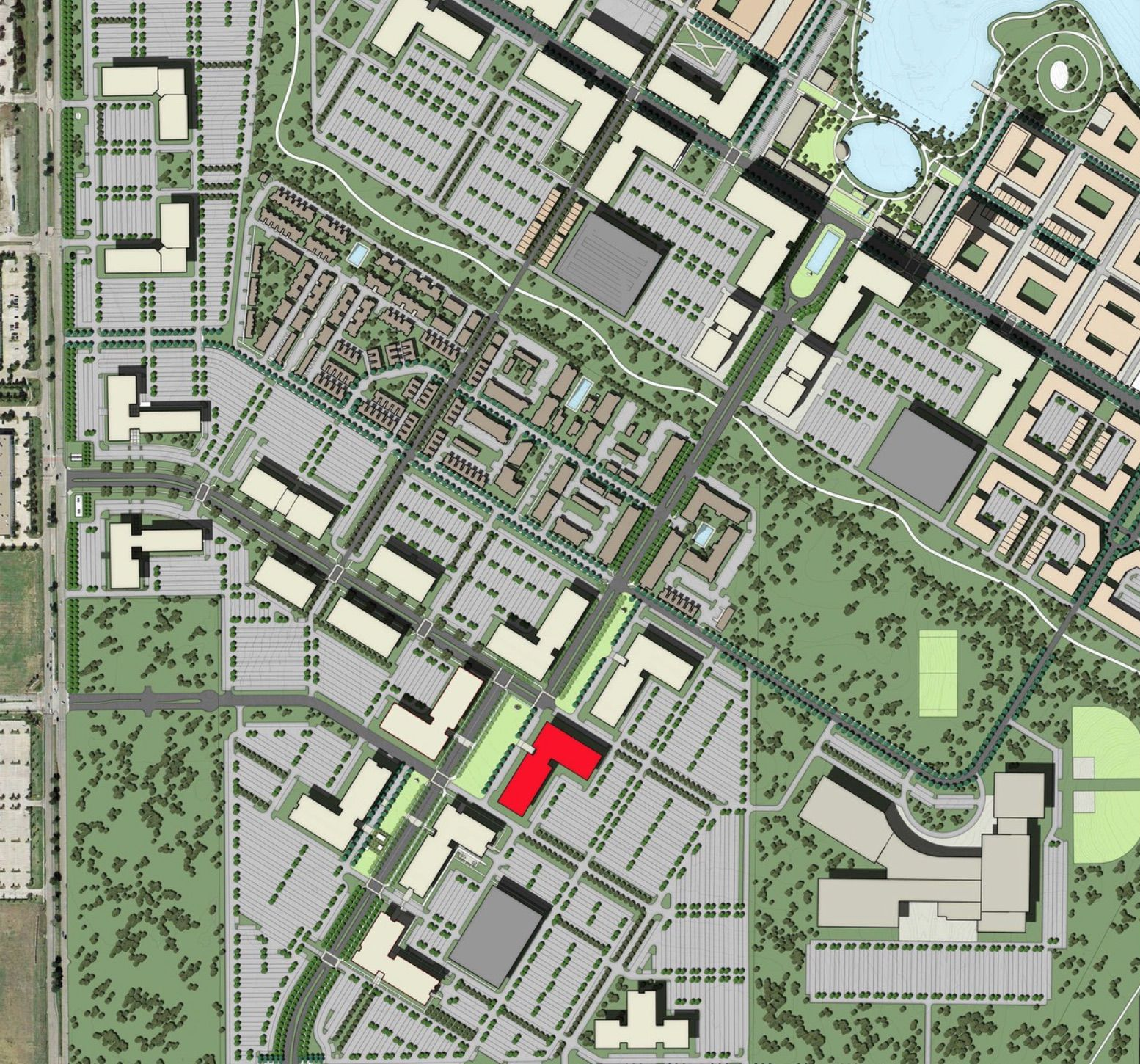 The building is planned on Cypress Waters Boulevard north of LBJ Freeway.