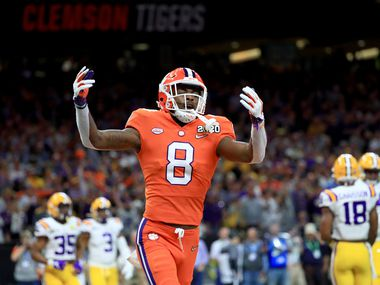 NEW ORLEANS, LOUISIANA - JANUARY 13: A.J. Terrell #8 of the Clemson Tigers celebrates against the LSU Tigers in the College Football Playoff National Championship game at Mercedes Benz Superdome on January 13, 2020 in New Orleans, Louisiana.