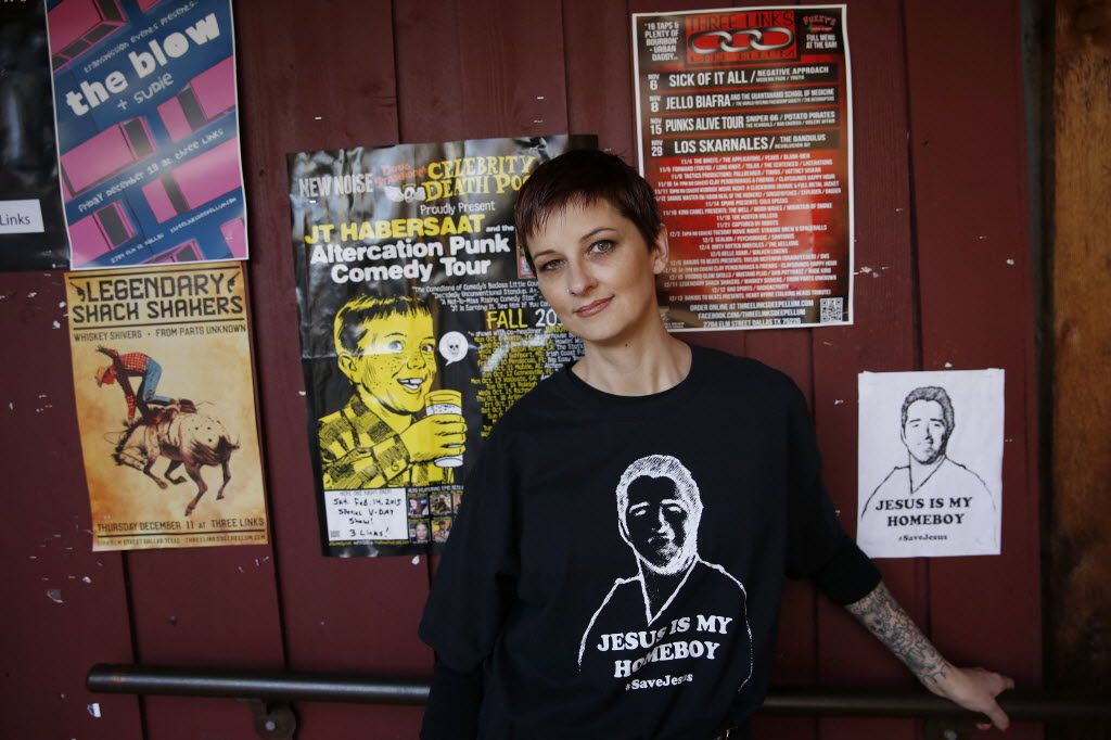 Stephanie Johnson wears her #SaveJesus shirt in the Deep Ellum neighborhood of Dallas in 2014.  Johnson was a co-organizer of a group supporting Jesus Martinez, who was fired as a Dallas police officer for using excessive force, and then reinstated.