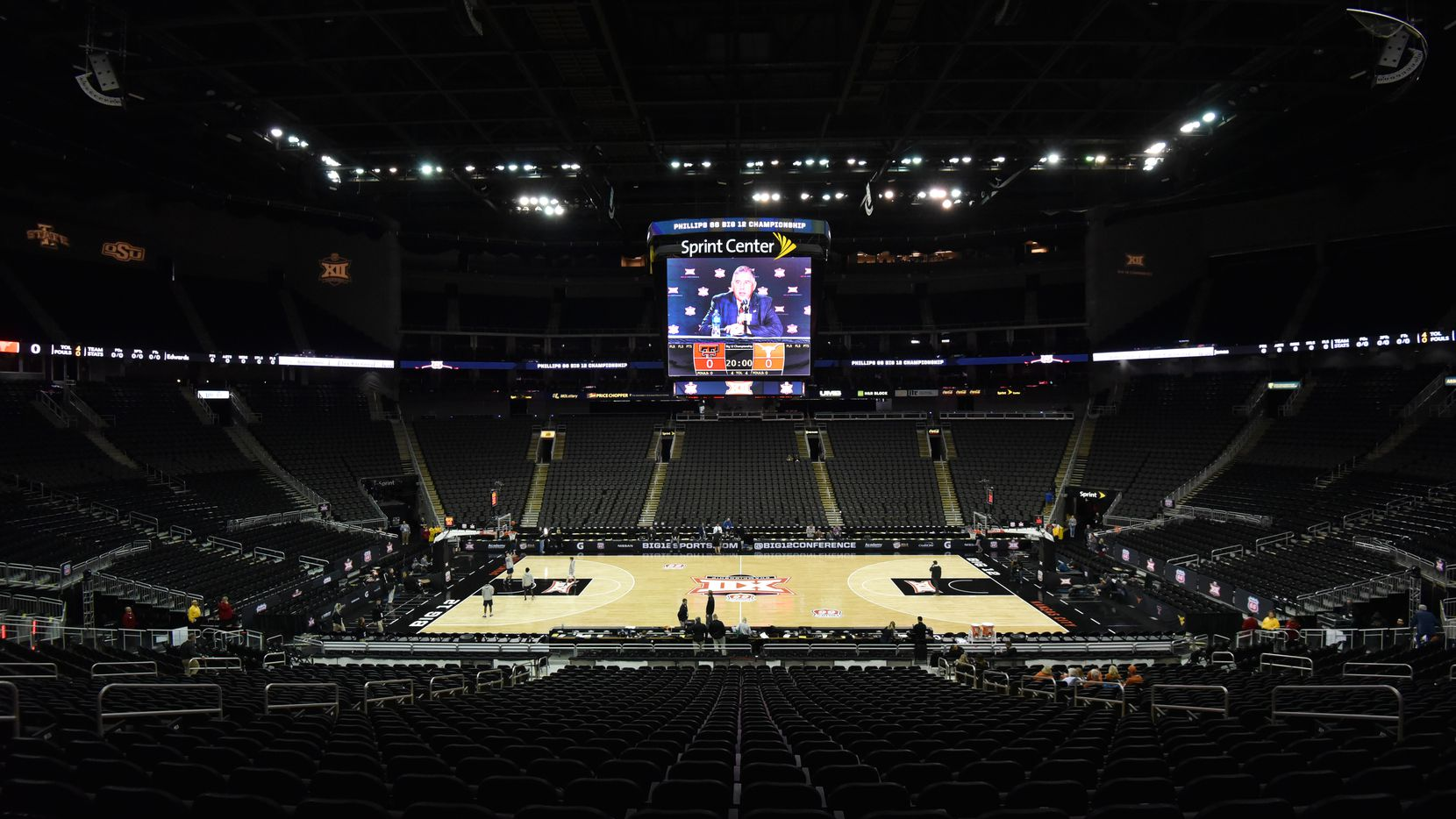 KANSAS CITY, MISSOURI - MARCH 12: Bob Bowlsby's, the commissioner of the Big 12, press conference is displayed on the scoreboard as he announces that Big 12 men's basketball tournament has been canceled due to concerns with the Coronavirus (COVID-19) outbreak at Sprint Center on March 12, 2020 in Kansas City, Missouri. (Photo by Ed Zurga/Getty Images)