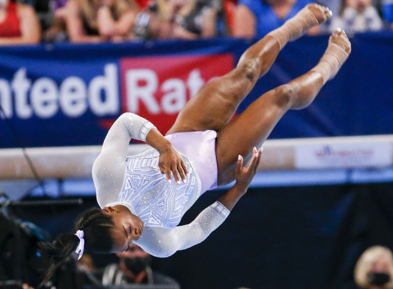 Simone Biles performs on the floor during day 1 of the senior women's US gymnastics championships on Friday, June 4, 2021, at Dickies Arena in Fort Worth. (Juan Figueroa/The Dallas Morning News)