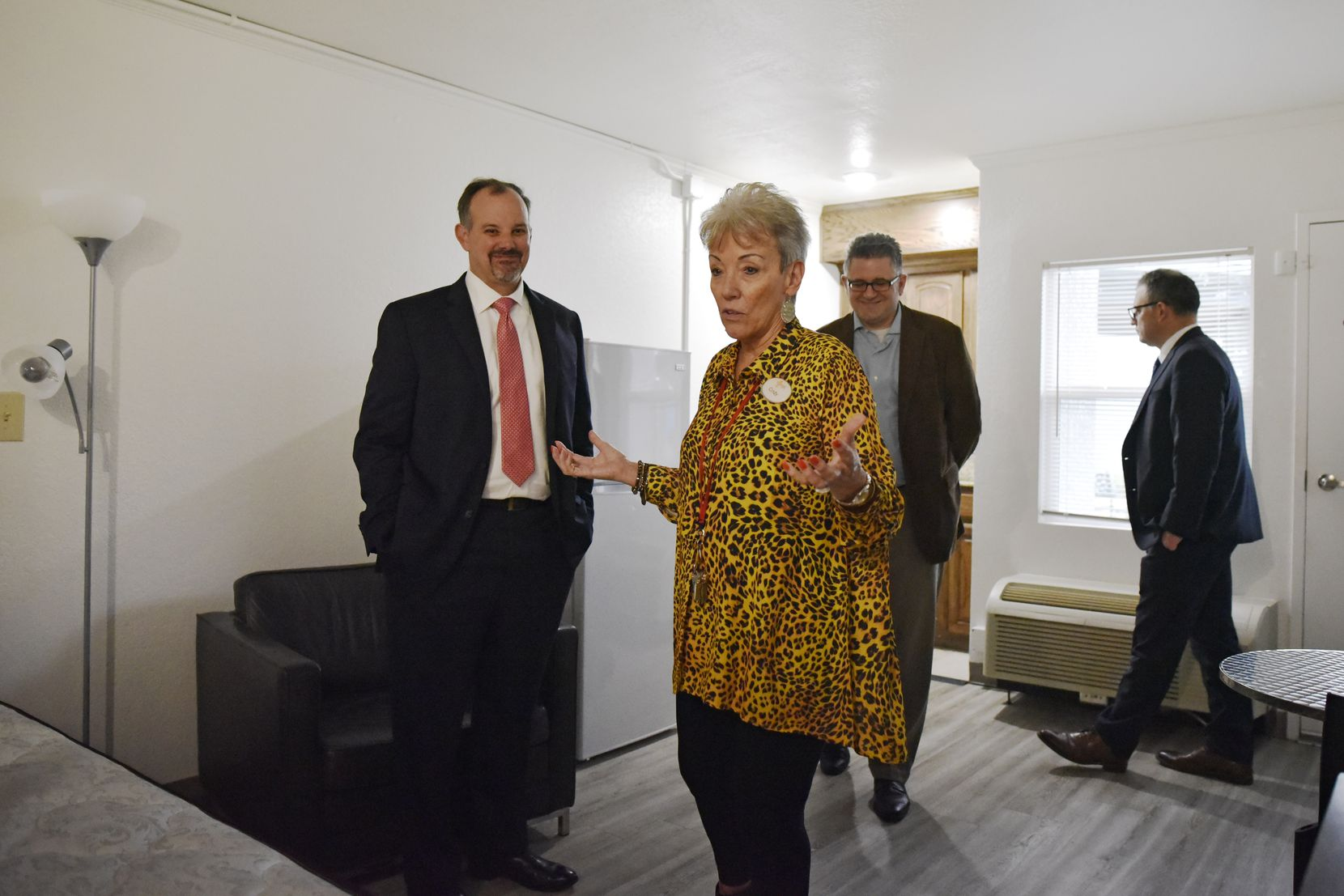 Cindy Montgomery, the property manager at St. Jude Center, tells visitors that residents compare their bedrooms at the complex to rooms at the Four Seasons.