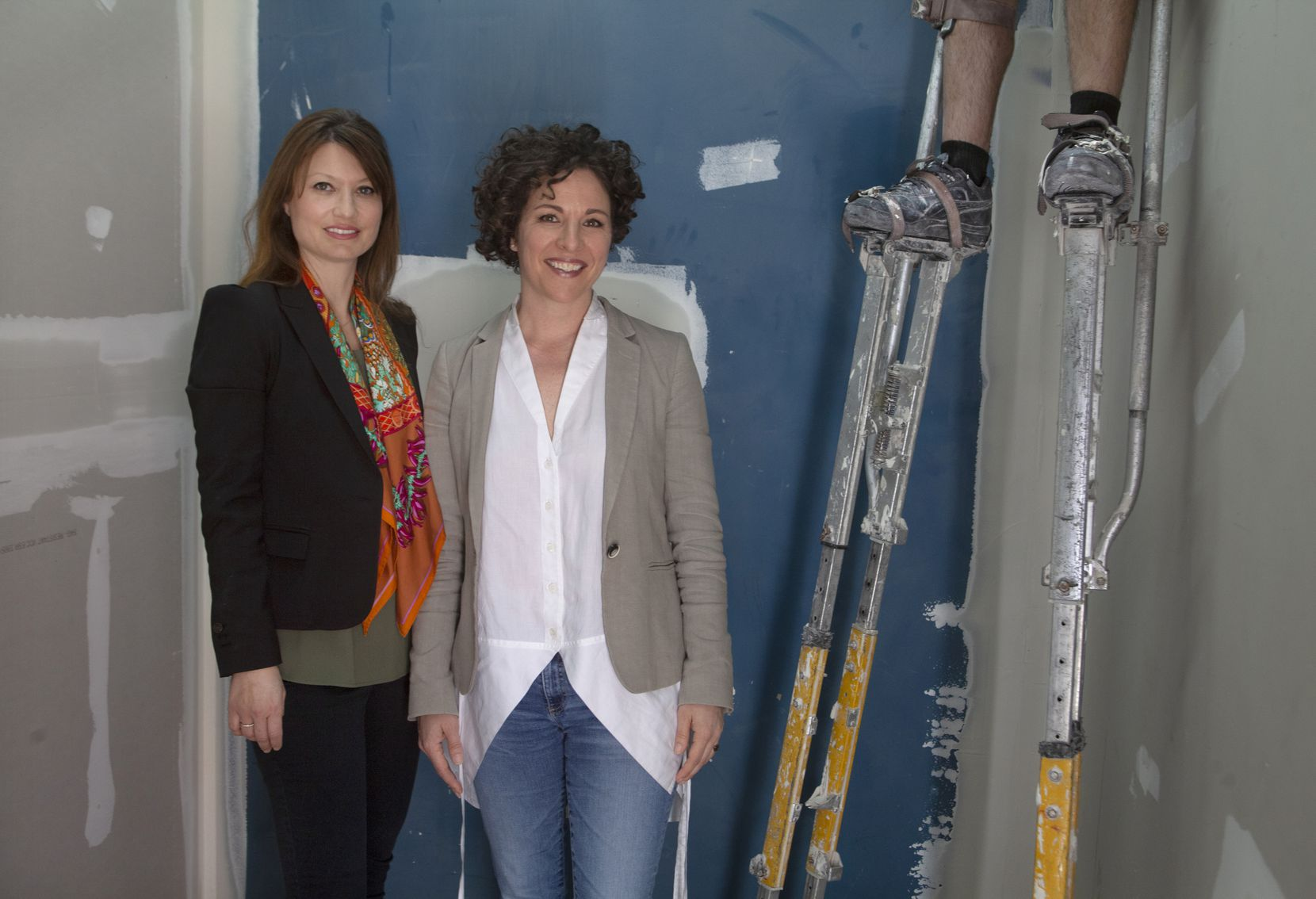 From left, Nell Potasznik Langford (director of Cluley Projects) and Erin Cluley (owner and director of Erin Cluley Gallery) photographed during construction of Cluley Projects in West Dallas which will open on April 17. (Nan Coulter)