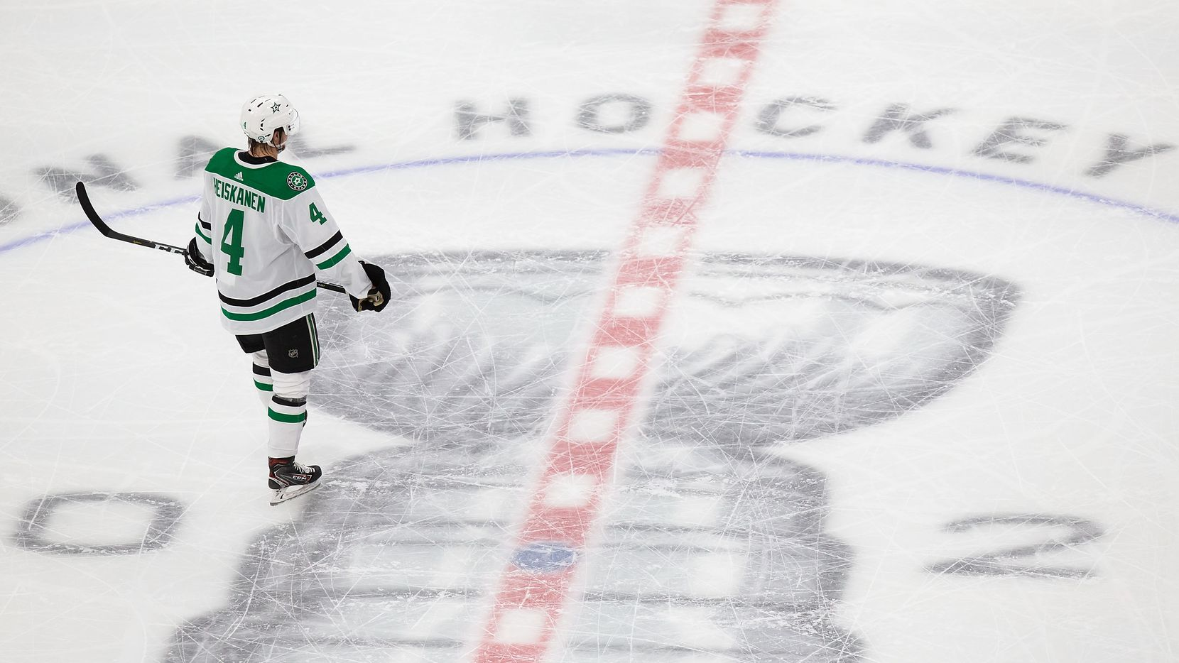 Miro Heiskanen (4) of the Dallas Stars skates against the Tampa Bay Lightning during Game Five of the Stanley Cup Final at Rogers Place in Edmonton, Alberta, Canada on Saturday, September 26, 2020.
