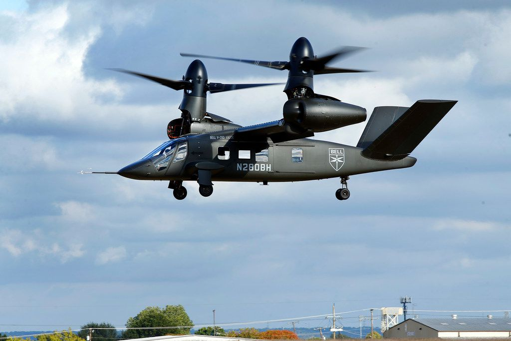 Pilots demonstrated the capabilities of the V-280 Valor tilt-rotor aircraft Thursday at the Bell Flight Research Center in Arlington.