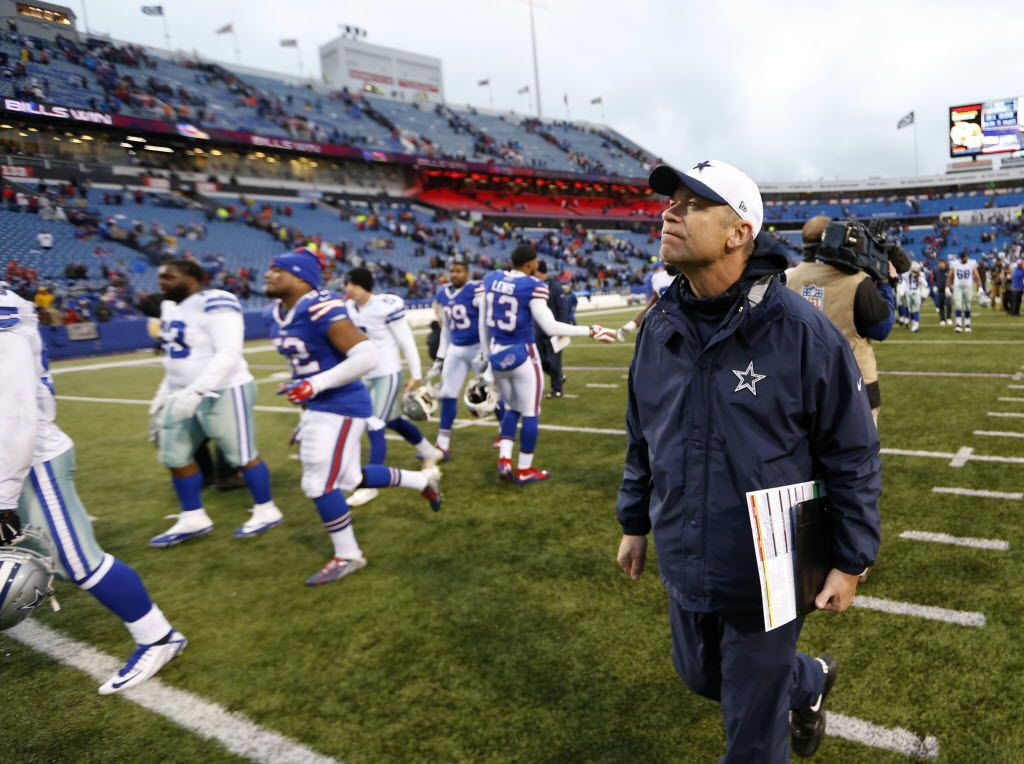 Dallas Cowboys offensive coordinator Scott Linehan walks off the field after losing to the Buffalo Bills 16-6 at Ralph Wilson Stadium in Orchard Park, New York on Sunday, December 27, 2015. (Vernon Bryant/The Dallas Morning News)