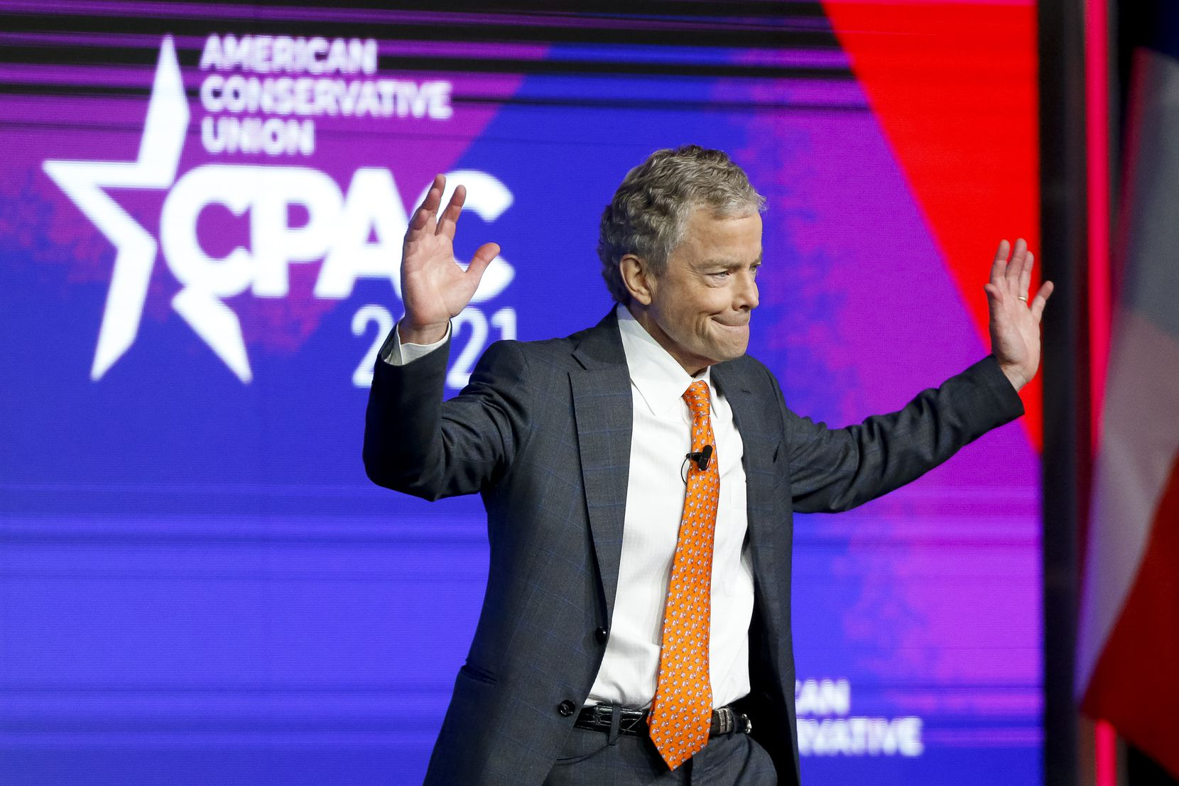 Former Texas state Sen. Don Huffines waves to the crowd before speaking at the Conservative Political Action Conference in Dallas.