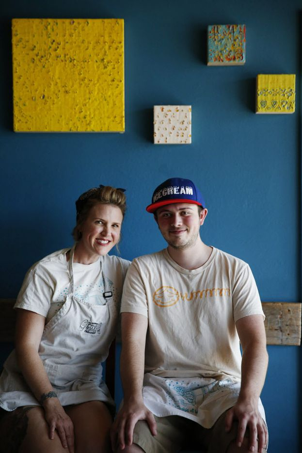 Corey Sorensen , cq, and her son, Cole Sorensen, sit for a portrait inside the Cow Tipping Creamery store located off Peavy Road in Dallas Tuesday March 15, 2016. Cow Tipping Creamery started as food truck in Austin in 2012. The Dallas location, which has not yet opened, is the first storefront for the brand. The company is family-owned by Corey and Timothy Sorensen of Austin, and their son, Cole, 21, works out of the food truck. The store is located inside the Good 2 Go Taco shop. (Andy Jacobsohn/The Dallas Morning News)