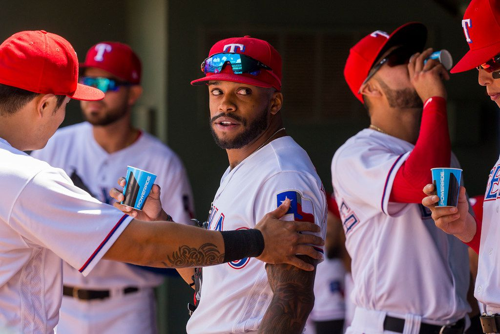 Texas Rangers center fielder Delino DeShields prepares to take the field before a game against the Seattle Mariners at Globe Life Park on Sunday, April 22, 2018, in Arlington. (Smiley N. Pool/The Dallas Morning News)