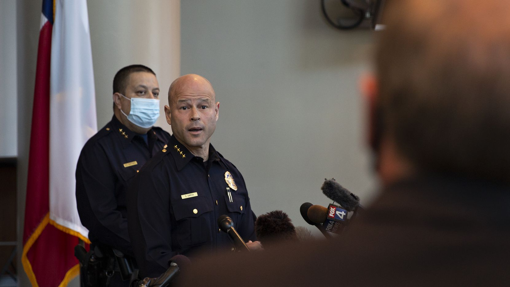 Dallas Police Chief Eddie Garcia speaks at a press conference at the Dallas Police Headquarters on April 8, 2021. (Shelby Tauber/Special Contributor)