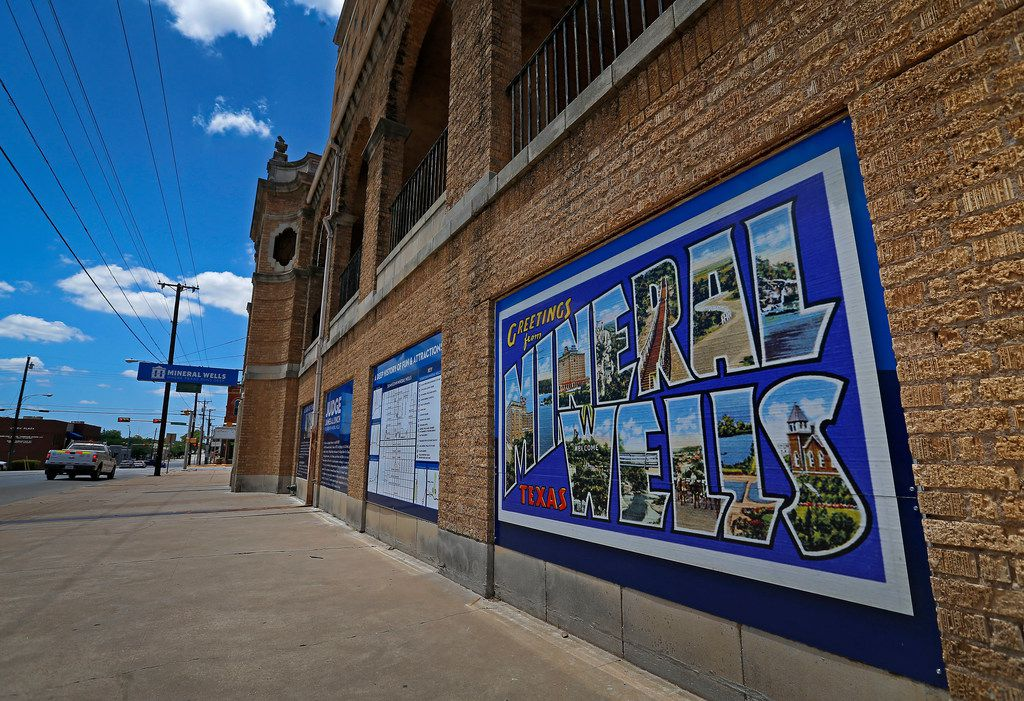 A welcome sign is seen on the historic Baker Hotel in Mineral Wells.