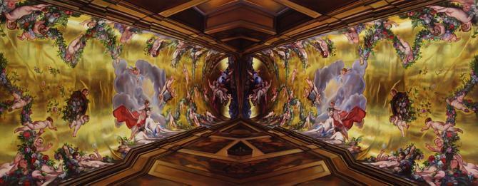 Patti Oleon Holy Bravado, 2013, oil on linen over panel, 36 x 92 inches