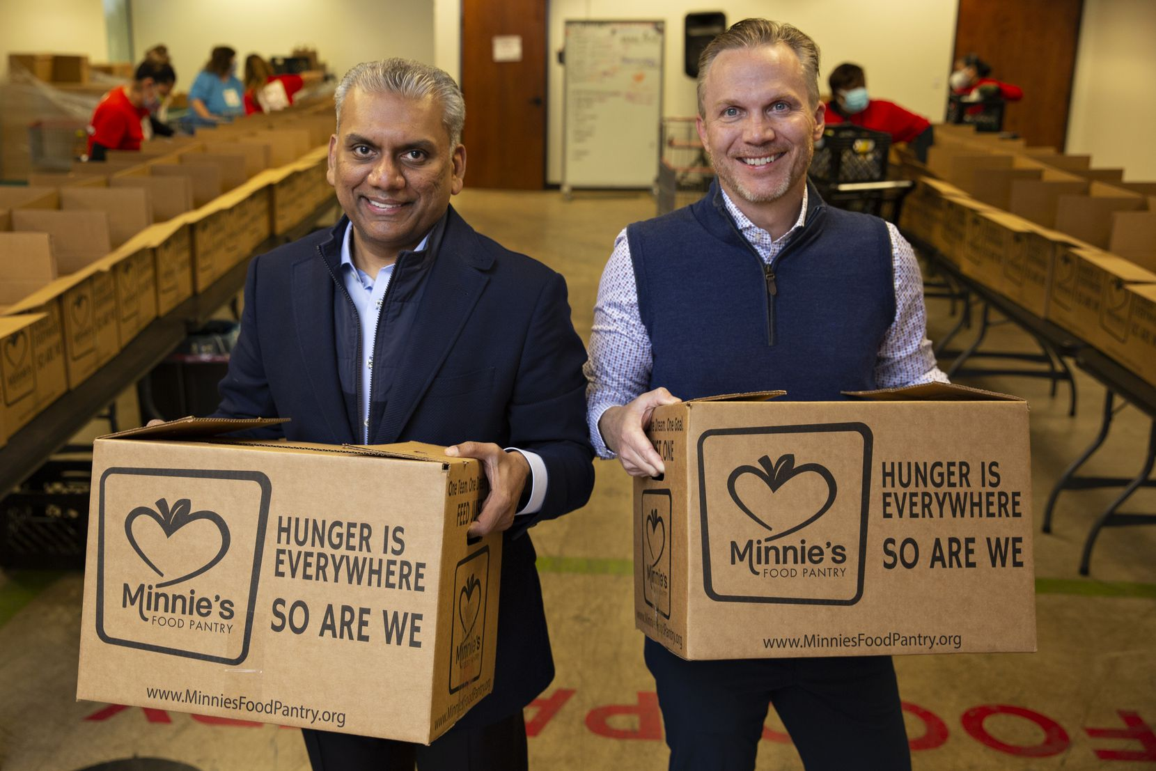 Anurag Jain (left) and Patrick Brandt are the co-founders of Get Shift Done, a nonprofit that was launched in March 2020 in response to the COVID-19 pandemic. Get Shift Done connects unemployed hospitality workers with paid positions at hunger relief organizations such as Minnie's Food Pantry in Plano.