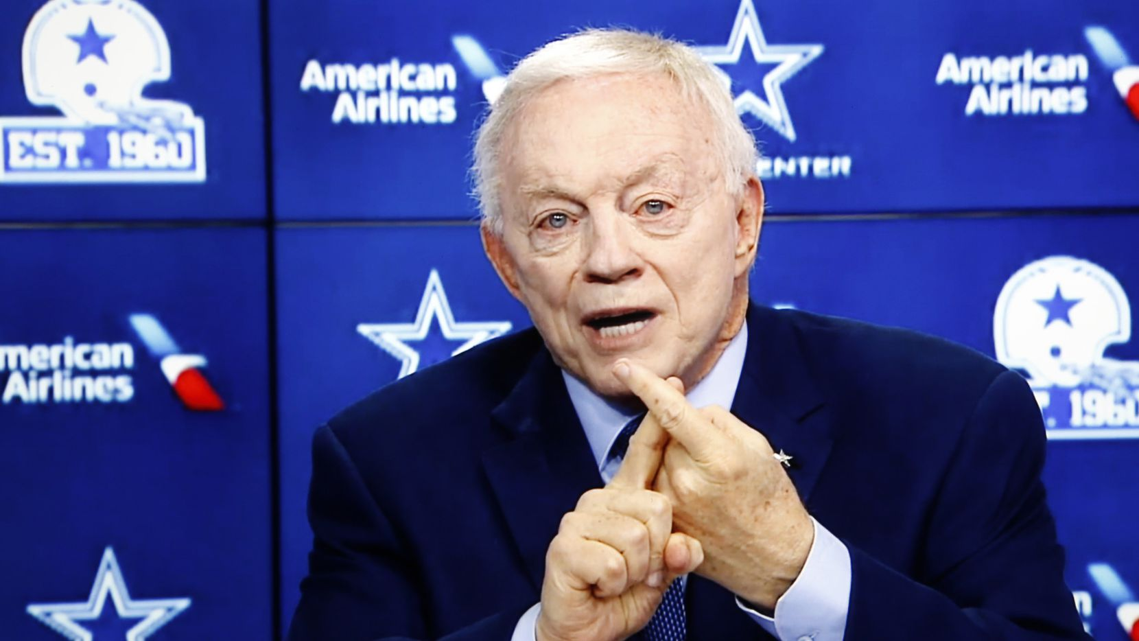 Dallas Cowboys owner and general manager Jerry Jones speaks during the annual state of the team news conference conducted virtually on Wednesday, August 12, 2020. (Screenshot of virtual press conference)