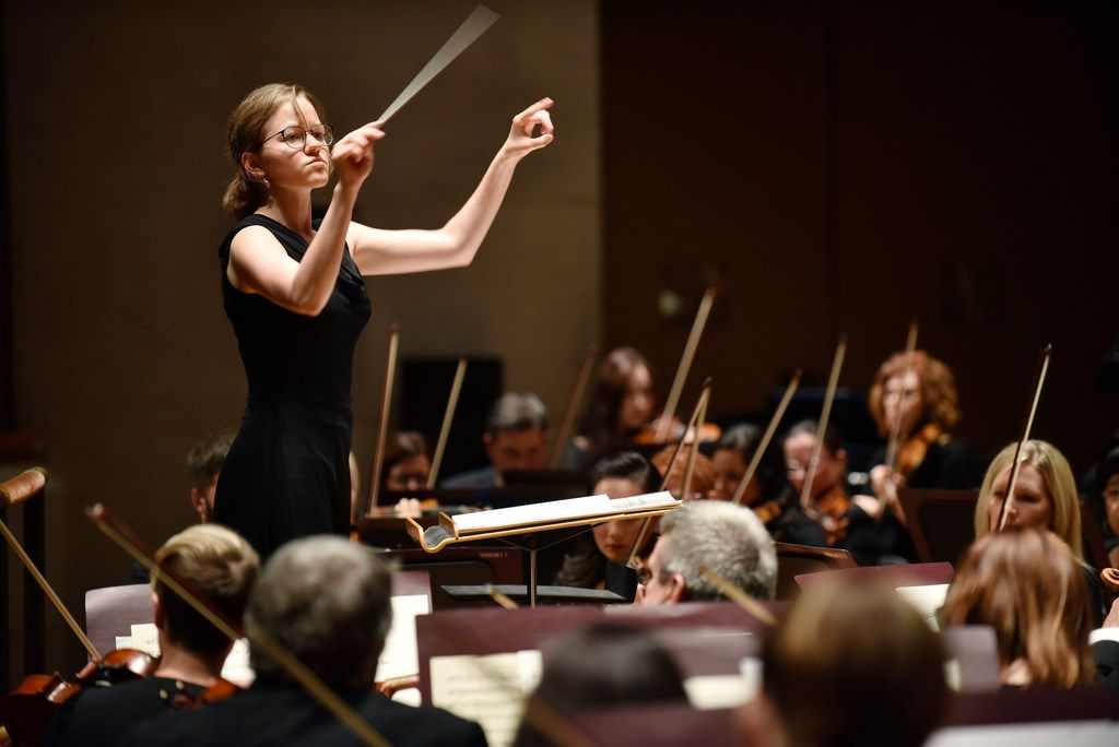 Katharina Wincor conducts the Dallas Symphony Orchestra during her debut at the Meyerson Symphony Center 30th Anniversary Concert on Sept. 4, 2019 at the Meyerson Symphony Center in downtown Dallas.