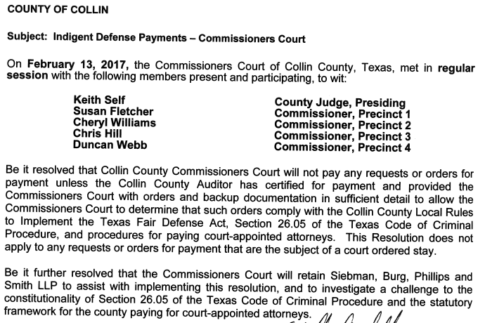 The Collin County Commissioners Court on Monday voted to consider challenging the constitutionality of the Texas Fair Defense Act. While the challenge won't affect the Paxton case, it will have an impact on future prosecutions of public officials in Collin County.
