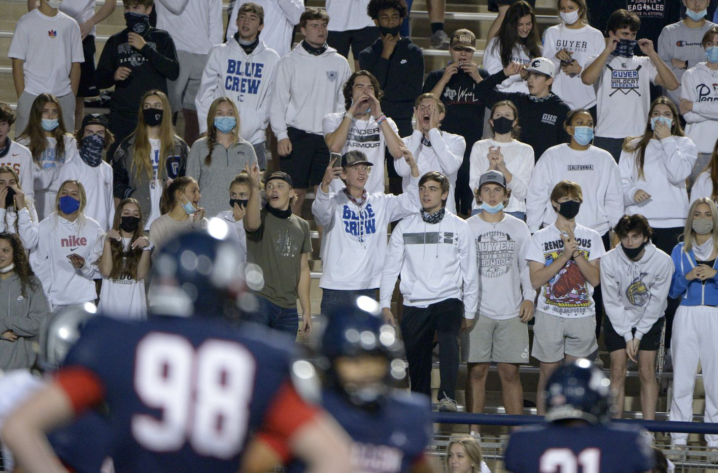 The Denton Guyer student section reacts to a call in the third quarter of a high school football game between Denton Guyer and Allen, Friday, Nov. 13, 2020, in Allen, Texas. (Matt Strasen/Special Contributor)