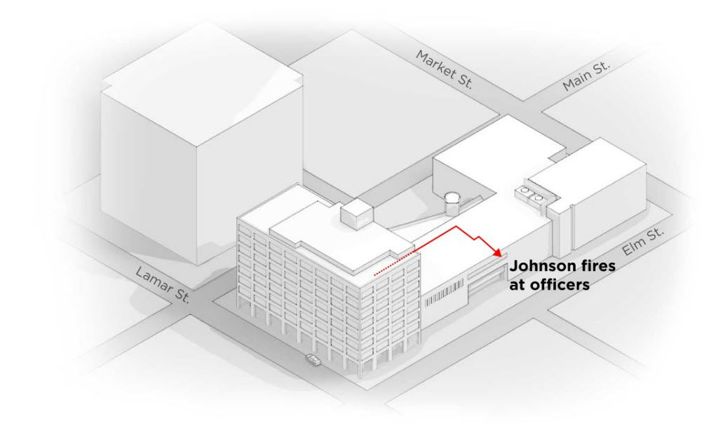 5. Down the hall    Johnson moves through Building B into Building C. He ends up in officials called an alcove, at the end of a crooked hallway that prevented clear lines of sight. Through the window in the alcove, he fires at officers moving up Elm. The location is near El Centro's loading dock, which leads to confusion about the suspect being near a parking garage.