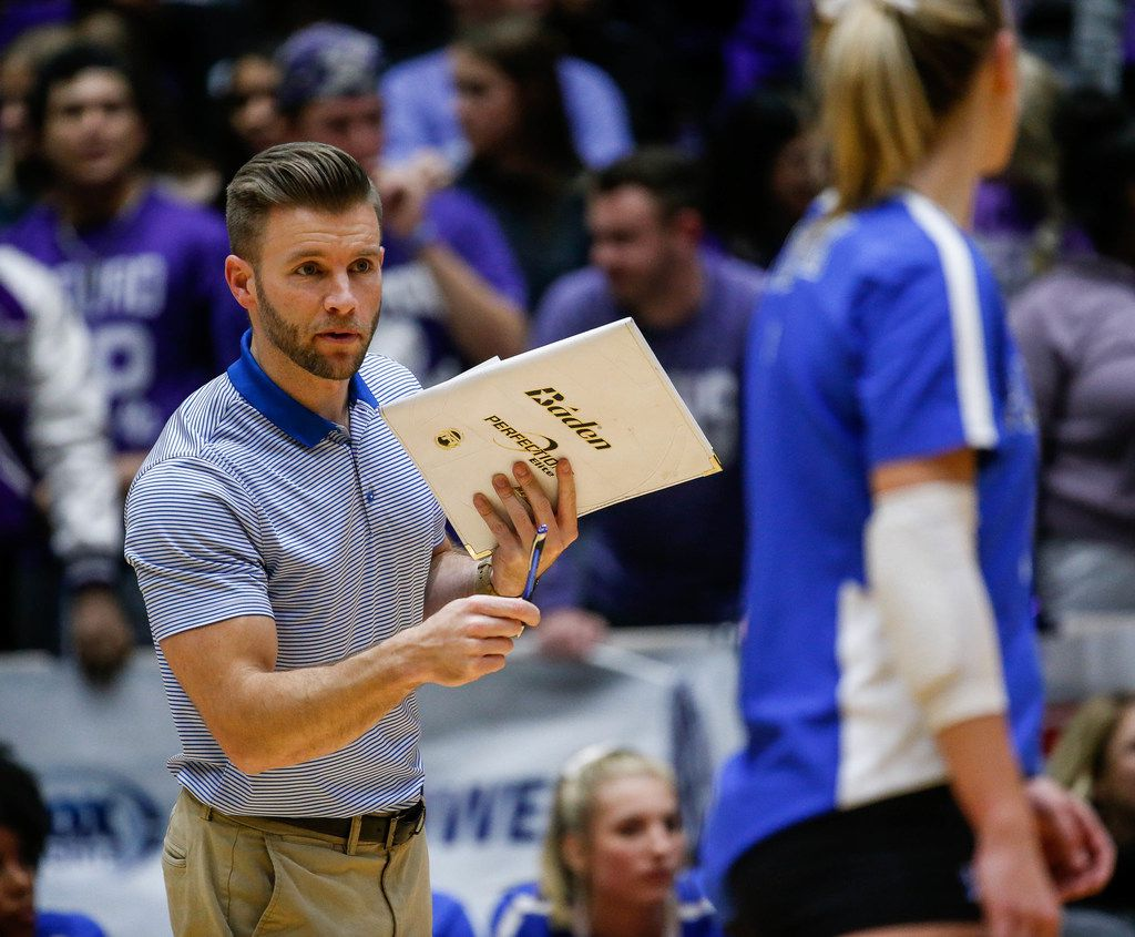 Plano WestÕs coach Justin Waters during the second set of a class 6A volleyball state semifinal match between Plano West and Fort Bend Ridge Point at the Curtis Culwell Center in Garland, on Friday, November 22, 2019. Plano West won the first two sets 25-21 and 25-11. (Juan Figueroa/The Dallas Morning News)