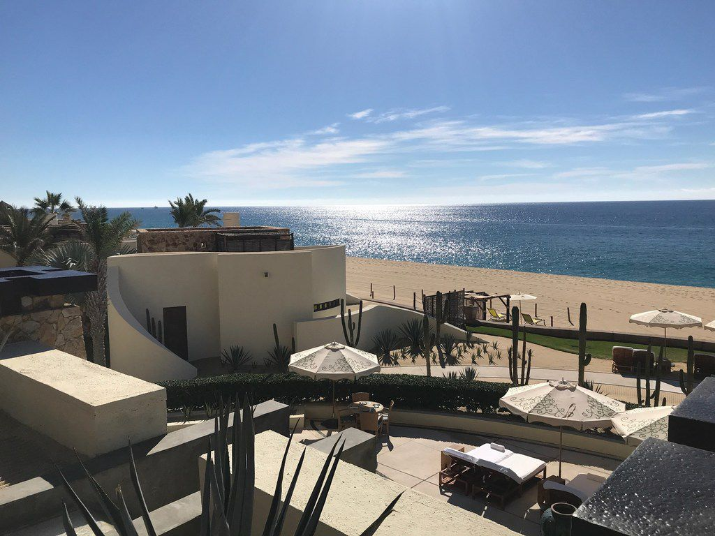 Cabos San Lucas promotes itself as a tourist destination for the affluent with high-end hotels, like The Resort at Pedregal, with views into the sea.