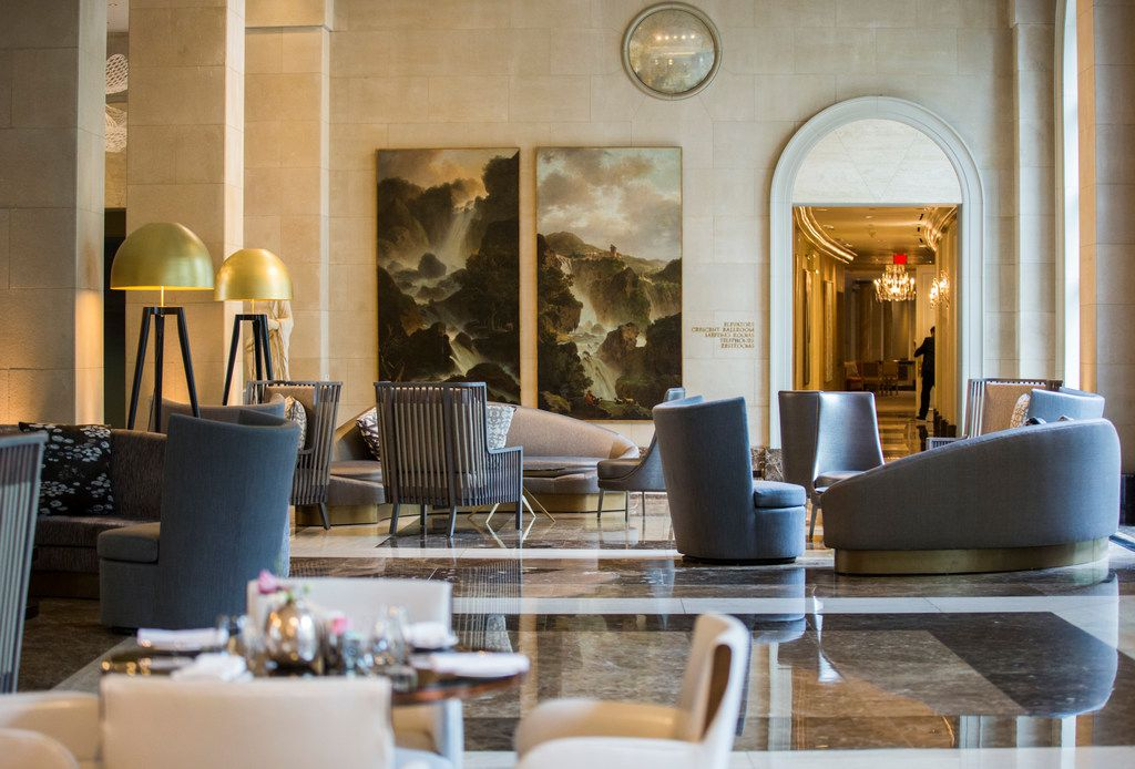 The lobby of Hotel Crescent Court in Dallas, which was recently renovated.