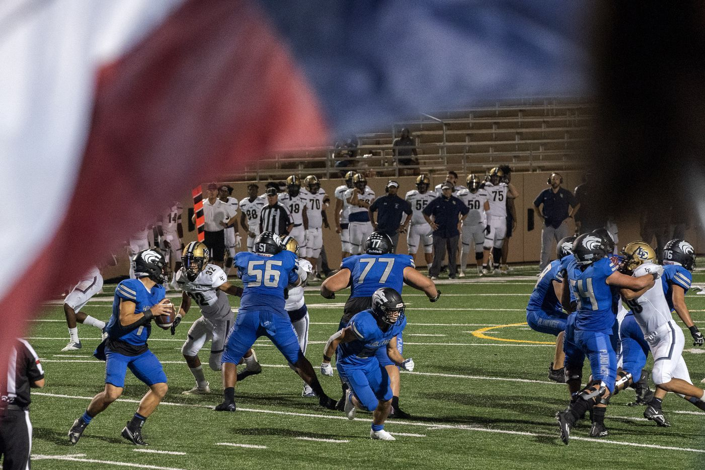 Plano West junior quarterback Vance Feuerbacher (19) drops back to pass against Little Elm during the second half of a high school football game on Friday, Sept. 10, 2021 at John Clark Stadium in Plano, Texas. Little Elm won 35-31. (Jeffrey McWhorter/Special Contributor)