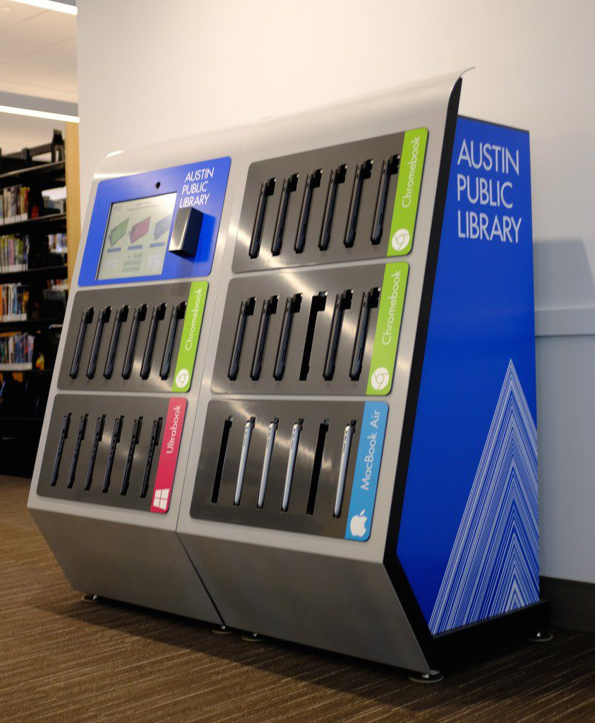 A laptop vending machine at Austin Central Library, Lake Flato & Shepley Bulfinch, architects, 2018.