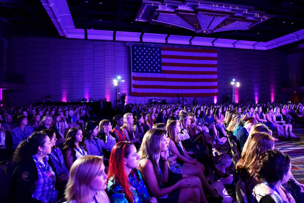 Young women from across the country listen to a speaker during the Turning Point USA Young Women's Leadership Summit at the Hyatt Regency Hotel in downtown Dallas, June 06, 2019.