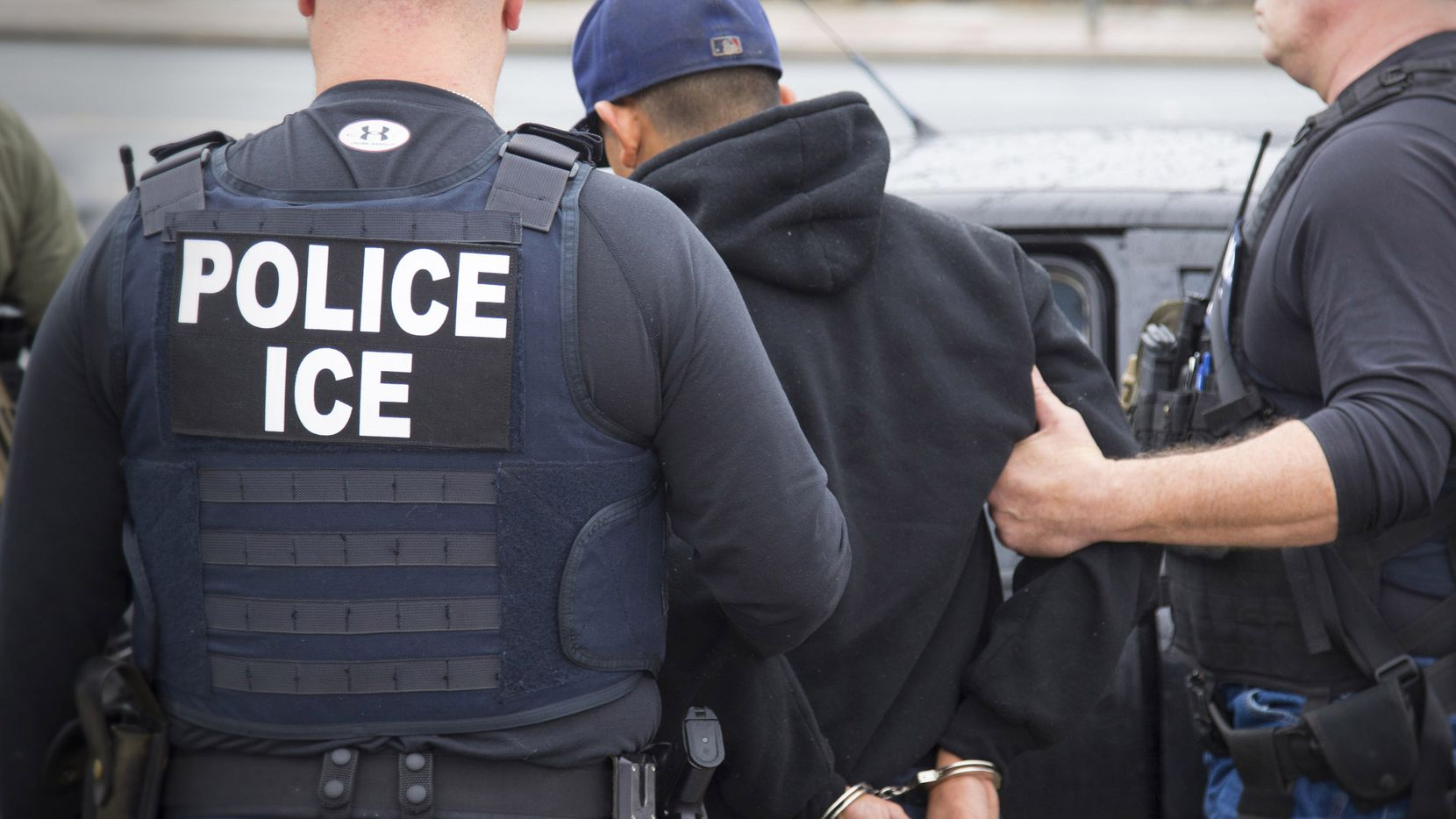 A photo released by U.S. Immigration and Customs Enforcement shows a foreign citizen being arrested this week during a targeted enforcement operation conducted by ICE aimed at immigration fugitives, re-entrants and at-large criminal aliens in Los Angeles. (Charles Reed/U.S. Immigration and Customs Enforcement via AP)