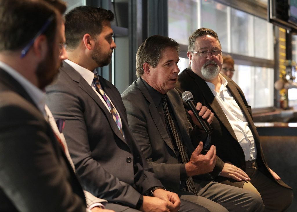 Tony Felker, Frisco Chamber of Commerce president and CEO, second from right, and other guest speakers discuss the future of Collin County during a subscriber event at Legacy Hall's Unlawful Assembly Brewing in Plano on May 15, 2019. (Jason Janik/Special Contributor)