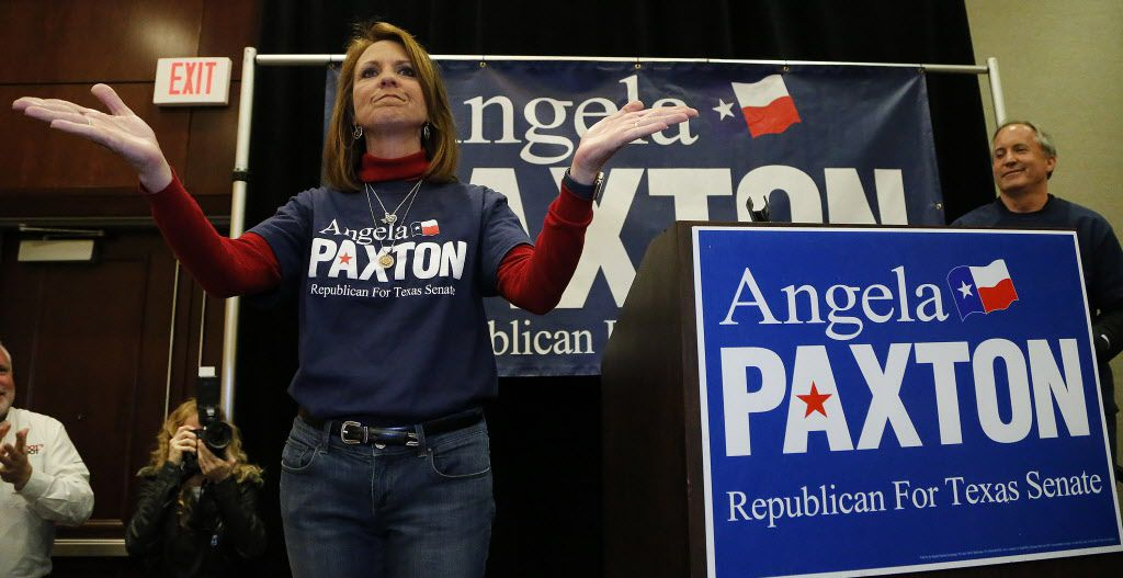Angela Paxton acknowledged the applause of supporters at her election return party at the Marriott Courtyard in Allen on Tuesday night, March 6, 2018.