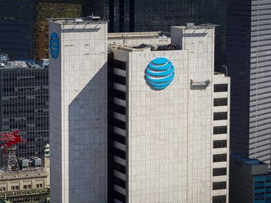 Aerial view of Whitacre Tower, also known as One AT&T Plaza, AT&T's corporate headquarters in Dallas.