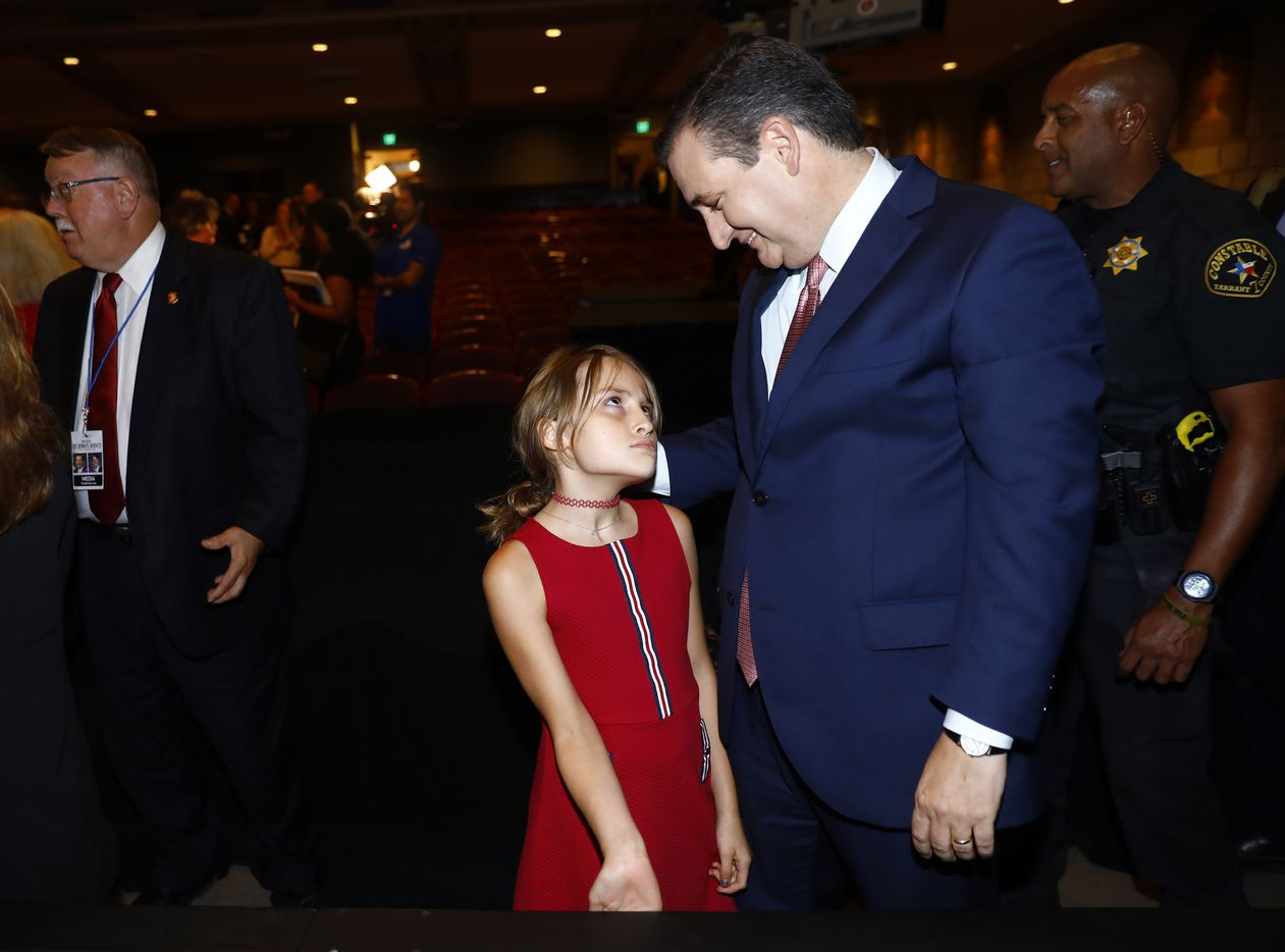Sen. Ted Cruz (R-TX) talks with his daughter Caroline Cruz after a debate with Rep. Beto O'Rourke (D-TX) at McFarlin Auditorium at SMU in Dallas, on  Friday, September 21, 2018.