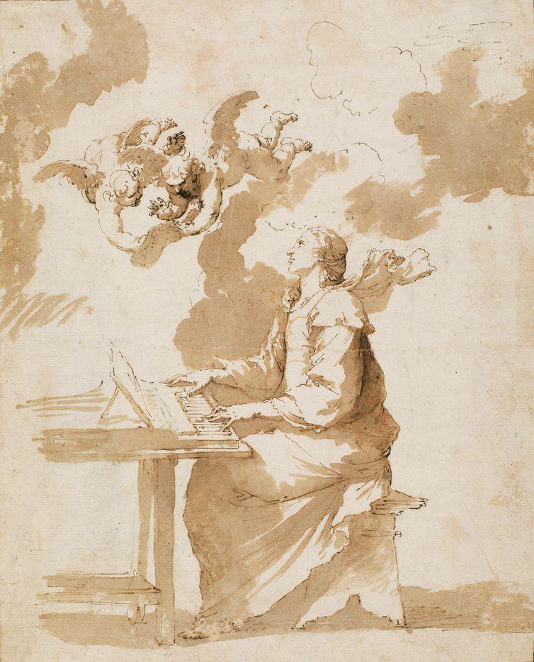 Jusepe de Ribera (Spanish, 1591–1652), Saint Cecilia, early 1640s. Pen, brown ink and wash. Museo Nacional del Prado, D6015.  Between Heaven and Hell: The Drawings of Jusepe de Ribera March 12 – June 11, 2017