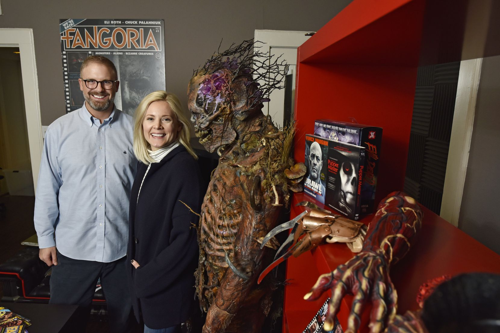 Cinestate chief executive officer Dallas Sonnier and vice president of production Amanda Presmyk in a storage room at their offices in Dallas on Jan. 08, 2019. Cinestate, a Dallas film production company, also publishes the horror magazine Fangoria.