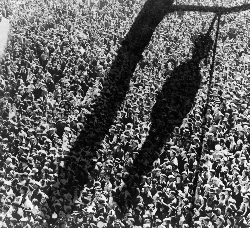 After compiling an inventory of 3,959 lynching victims in 12 Southern states from 1877 to 1950, the Equal Justice Initiative wants to erect markers and memorials on certain sites. A shadow of a lynched man superimposed in the darkroom over a crowd of people in a photomontage created between 1920 and 1940. The image is part of a collection at the Library of Congress. ()