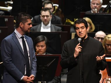 """Fort Worth Symphony music director Miguel Harth-Bedoya (r) interviews composer Victor Agudelo before the world premiere of Agudelo's """"La Madre de Agua,"""" performed by the FWSO at Bass Performance Hall on February 24, 2017 In Fort Worth, Texas. (Robert W. Hart/Special Contributor)"""