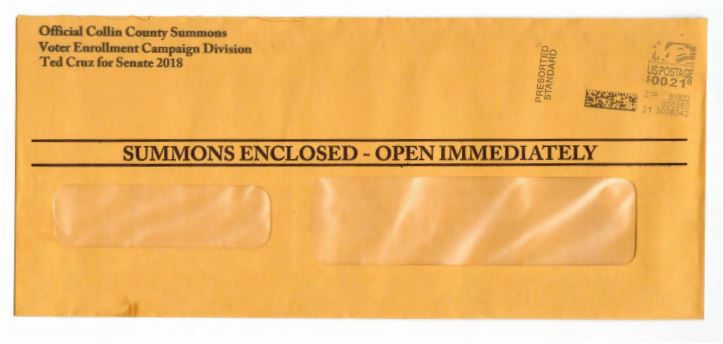 This is the envelope used by the Cruz campaign to get recipients to open the mailer.