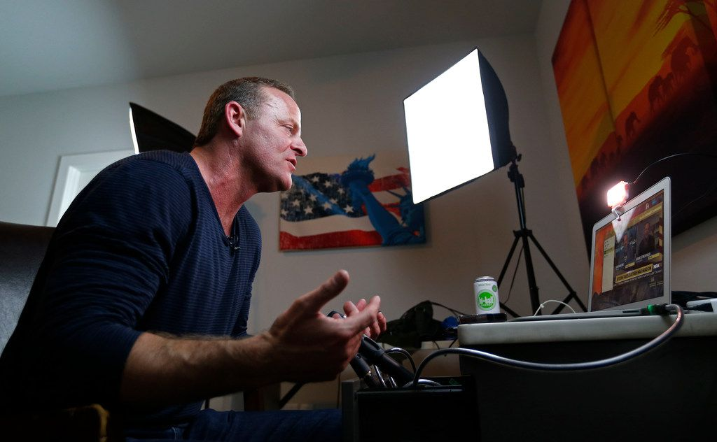 Grant Stinchfield, a former KXAS-TV reporter, does an interview on NRA TV via Skype from his home in Dallas. He will serve as the emcee at the upcoming launch of the Star Patriots political action committee in Frisco.