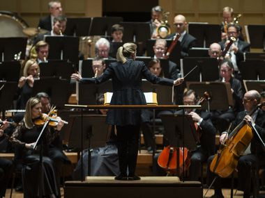 Principal guest conductor Gemma New leads the Dallas Symphony Orchestra at the Meyerson Symphony Center in Dallas, March 6, 2020.